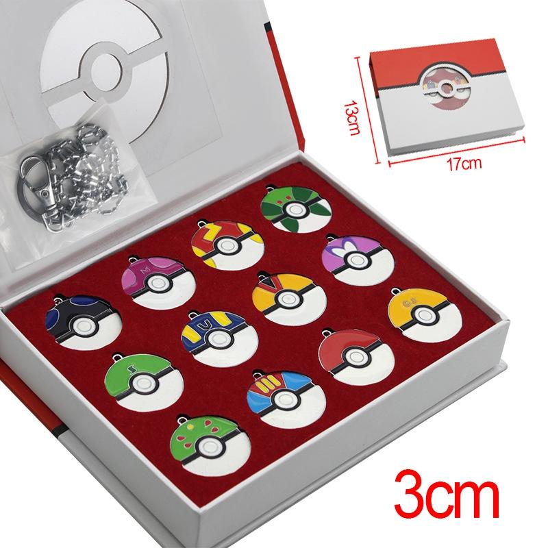 Sada přívěšků na klíče PokeBall v dárkové krabici - 12 kusů