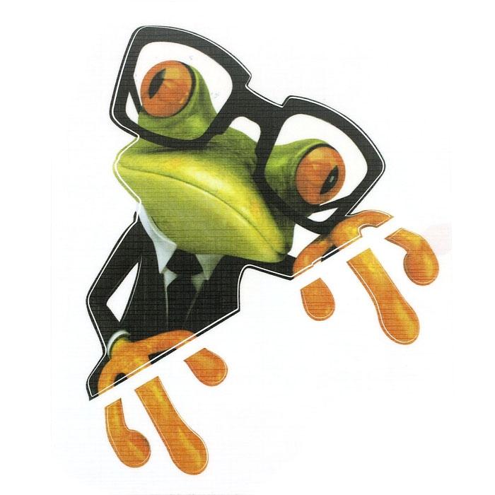Nálepka na auto - žába s brýlemi