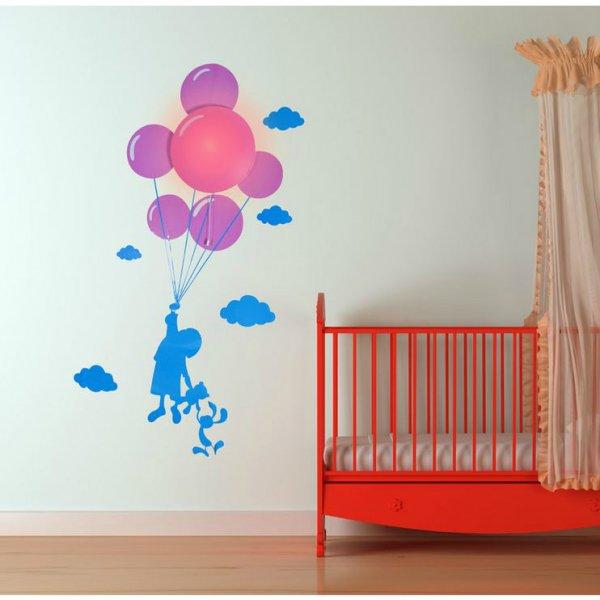 Bydlení a domácnost - Samolepka a světlo na zeď - dítě s balonky