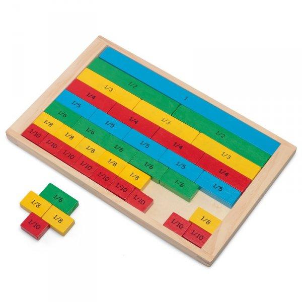Dřevěná tabulka zlomků pro děti