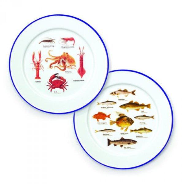 Dva dárkové smaltované talíře - mořský svět