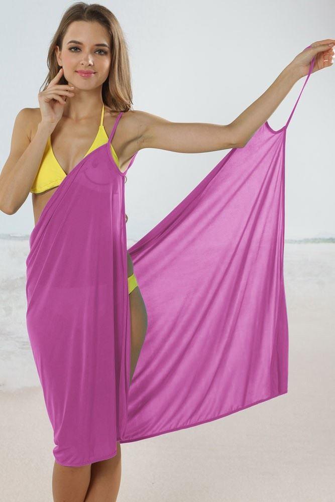 Plážové zavinovací šaty - Modré