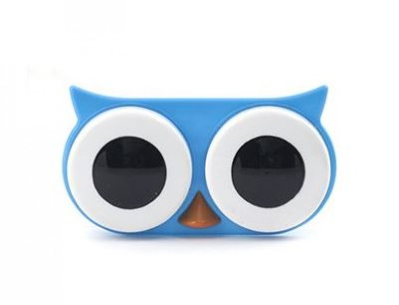 Pouzdro na kontaktní čočky - sova - Modrá