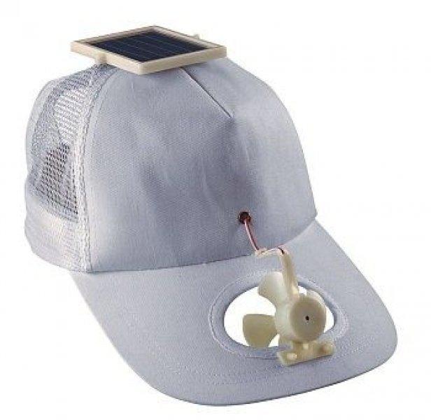Solární čepice s větráčkem - Bílá