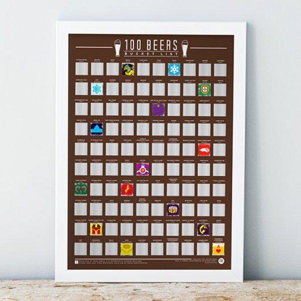 Stírací plakát 100 nejlepších piv na světě - Bucket list
