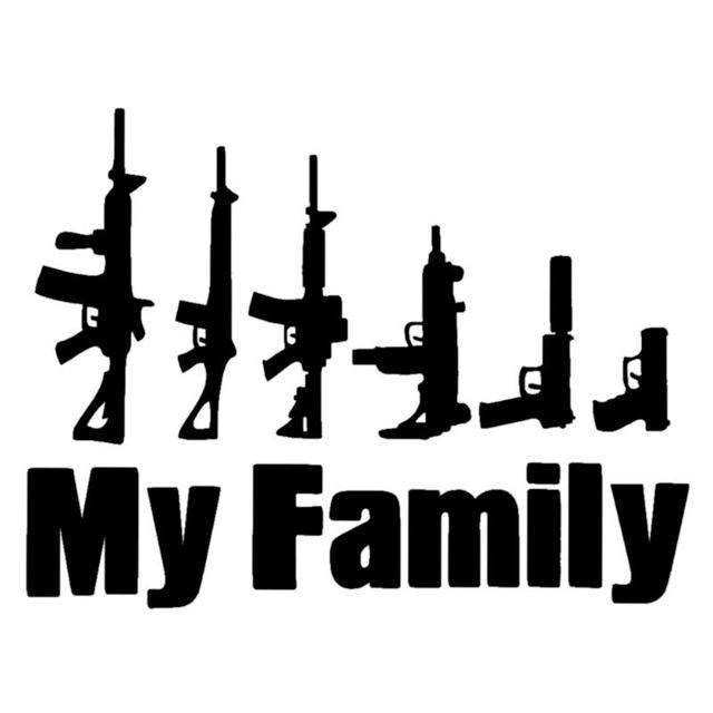 Bydlení a domácnost - Nálepka na auto - My family - zbraně