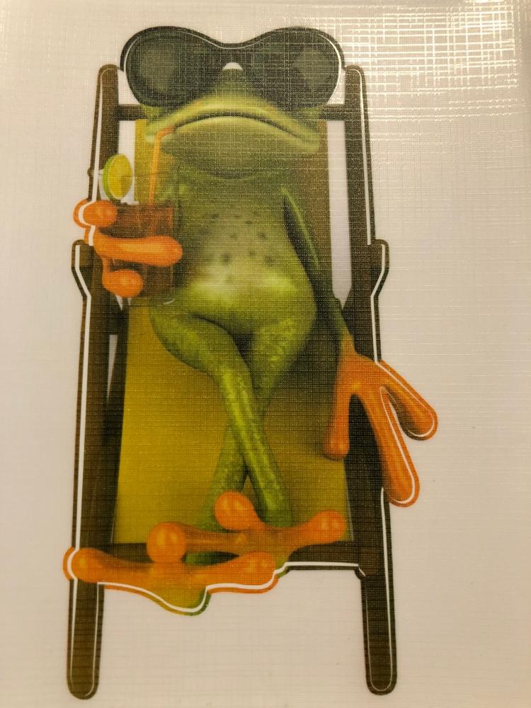 Bydlení a domácnost - Nálepka na auto - žába leží na lehátku