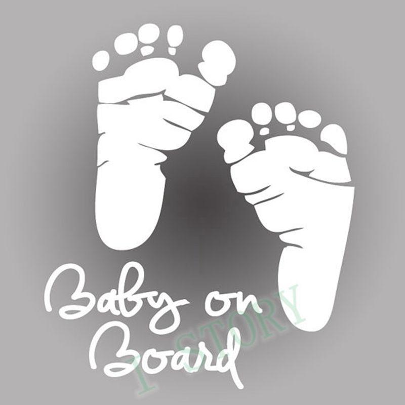 Nálepka na auto - Baby on board - stopy (Bílá)