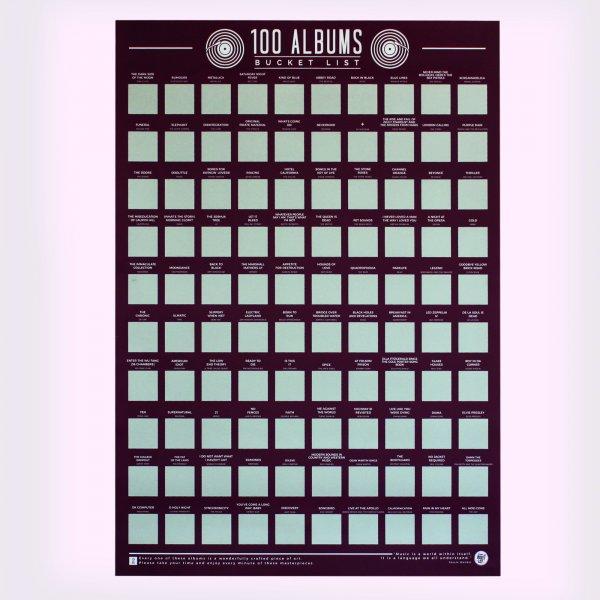 Hračky - Stírací plakát 100 nejlepších alb - Bucket list