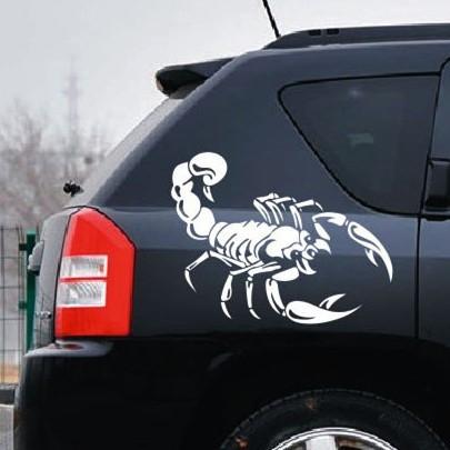 Nálepka na auto škorpion (Bílá)