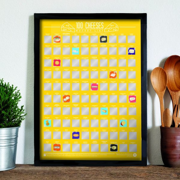 Stírací plakát 100 nejlepších sýru - Bucket list