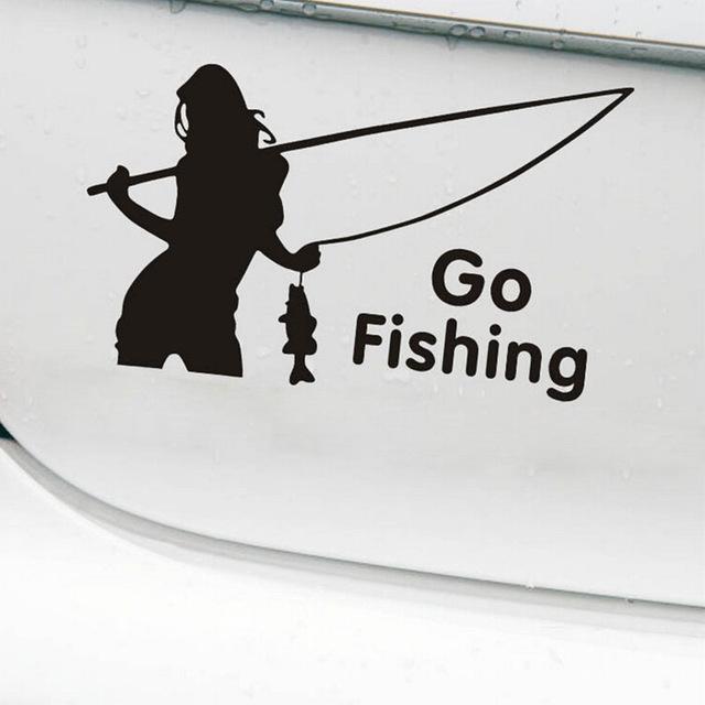 Nálepka na auto sexy žena s prutem Go Fishing černá