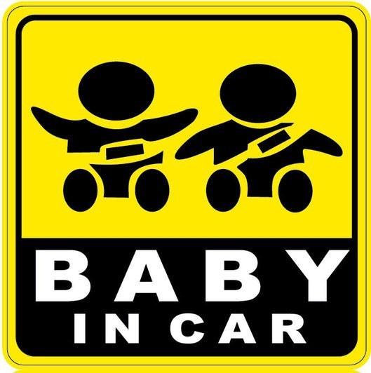 Bydlení a domácnost - Nálepka na auto - Baby in car - dvě sedící děti z popruhem