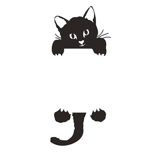 Samolepka na zeď - černá kočka za vypínačem