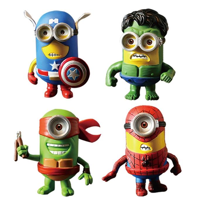 Samolepka na zeď - mimoni Spiderman, Hulk, Kapitán Amerika a želva ninja