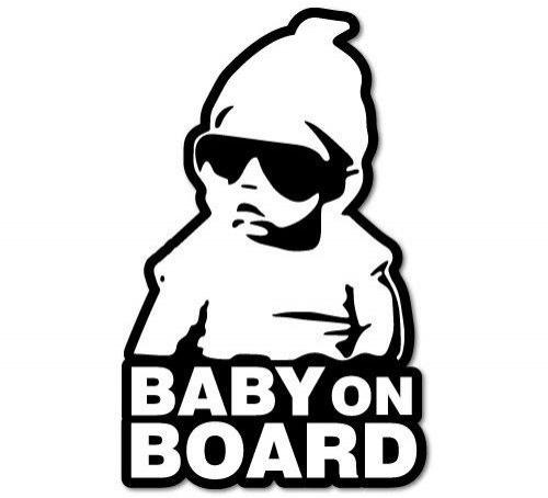 Bydlení a domácnost - Nálepka na sklo auta - Baby on board - bílá