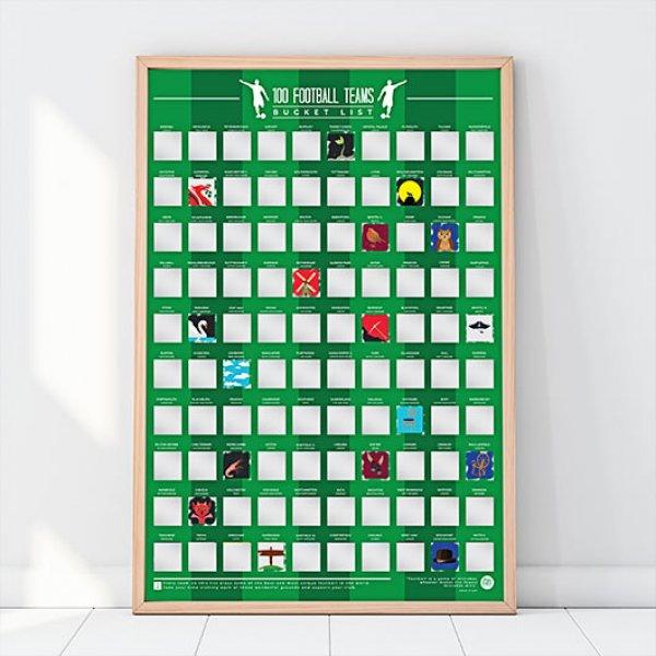Stírací plakát - 100 fotbalových týmů