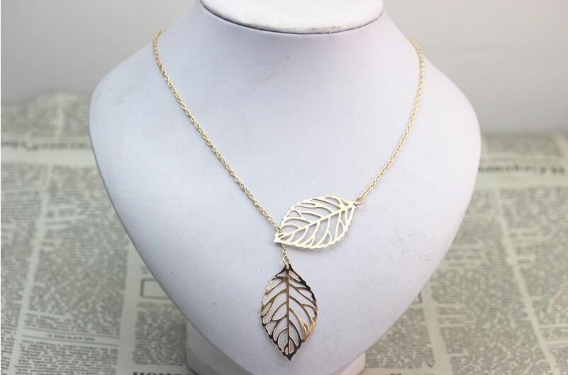 Řetízek na krk - listy stromu - Zlatý
