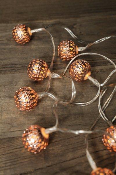 Bydlení a domácnost - Svítící LED koule na řetězu - oranžová