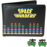 Retro peneženka a manžety - Space invaders