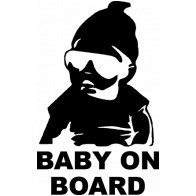Nálepka na sklo auta - Baby on board - černá