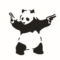 Nálepka na auto - Gangsta panda s pistolí
