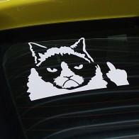 Nálepka na auto - kočka s fakáčem - bílá