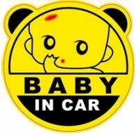 Nálepka na auto - Baby in car - kulatá s ušima