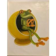 Nálepka na auto - žába sedí v křesle