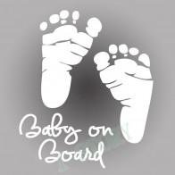 Nálepka na auto - Baby on board - stopy - Bílá