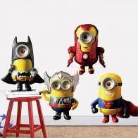 Samolepka na zeď - mimoni Thor, Ironman, Superman a Batman