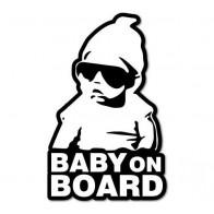 Nálepka na sklo auta - Baby on board - bílá