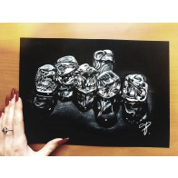 Obraz na černém papíru - Kostky ledu