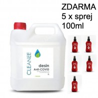 Dezinfekce na ruce CLENAEE - 5 litrů - CERTIFIKOVÁNO + 5x lahvička s rozprašovačem zdarma