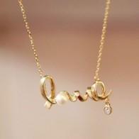 Řetízek na krk - Love - Zlatý
