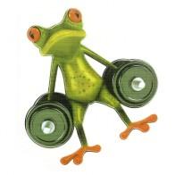 Nálepka na auto - žába s činkou